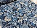 リバティ風花柄 ネイビー オックス生地 |北欧風|生地|布地|綿|コットン|エプロン|ワンピース|スカート|インテリア|手作り|手芸|の商品画像