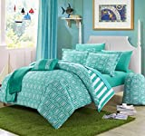 8 Piece Girls Teen Aqua Geometric Themed Comforter Twin XL Set, Beautiful Multi Hexagon Pattern, Stylish Horizontal Striped Bedding, All Over Vertical Stripes, Fun Diamond Style, Teal Blue White