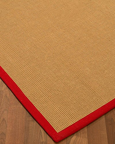 NaturalAreaRugs Arcadia Collection Jute Area Rug, Handmade, 100% Jute, Non-Slip Latex Backing, Durable, Elegant, Stain Resistant, Eco/Environment-Friendly, (8 Feet x 10 Feet) Red Border (Custom Jute Rug)