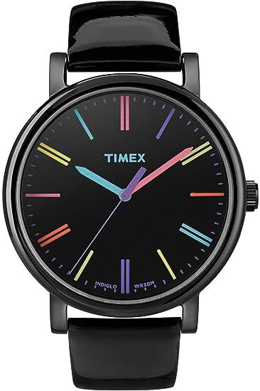 Timex T2N791 - Reloj análogico de cuarzo con correa de cuero para mujer, color blanco: Timex: Amazon.es: Relojes