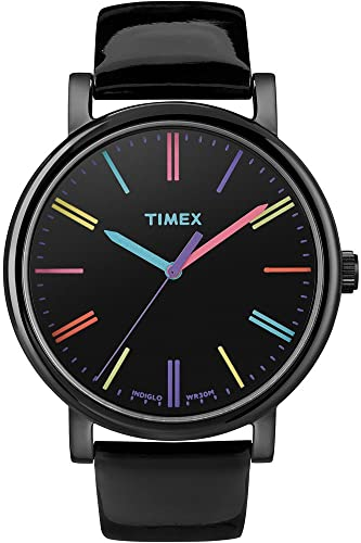 bbf6846b0 Timex Women's T2N790 Quartz Watch with Black Dial Analogue Display and  Black Leather Strap: Timex: Amazon.co.uk: Watches