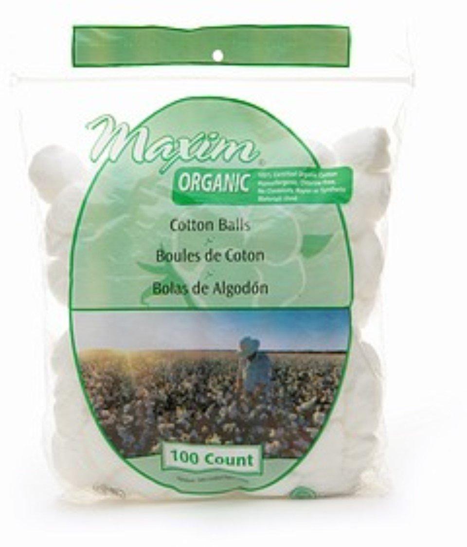 Maxim Hygiene Products Organic Cotton Balls, Jumbo Size 100 ea (Pack of 3)