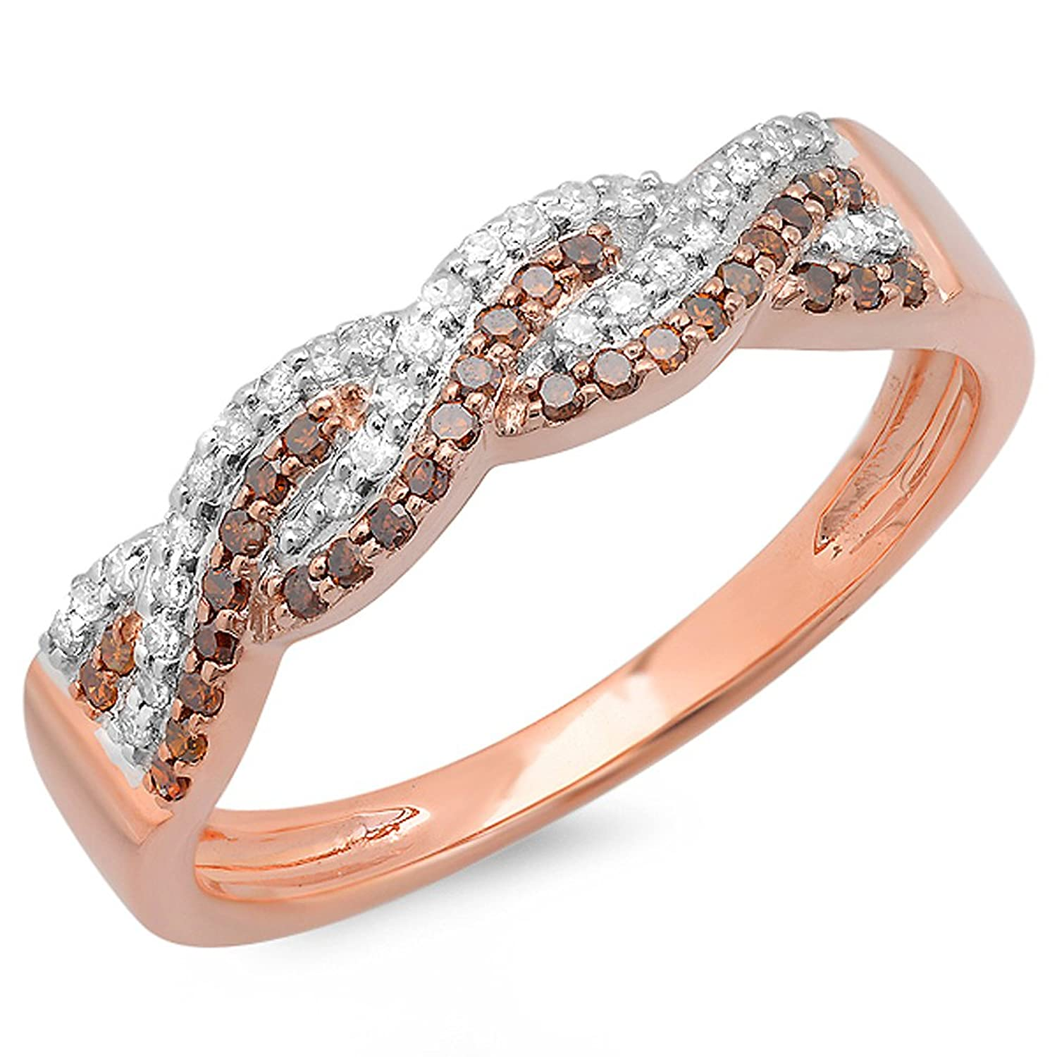 0.30 Carat (ctw) 14K Rose Gold White & Red Diamond Ladies Anniversary Wedding Band Swirl Ring 1/3 CT