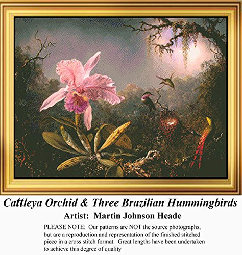 Cattleya Orchid & Three Brazilian Hummingbirds, Fine Art Counted Cross Stitch Pattern (Pattern Only, You Provide the Floss and Fabric)