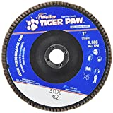 Weiler 51170 Tiger Paw XHD Super High Density Abrasive Flap Disc, Type 27 Flat Style, Phenolic Backing, Zirconia Alumina, 7'' Diameter, 7/8'' Arbor, 40 Grit, 8600 RPM (Pack of 10)