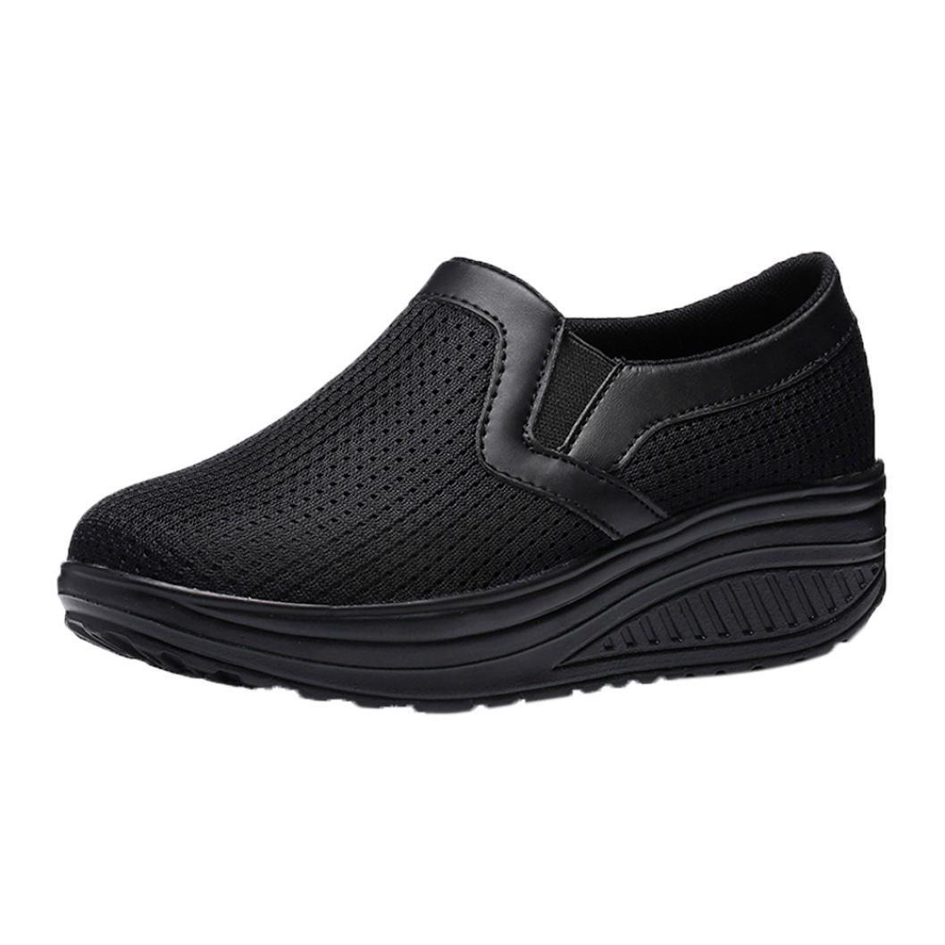 Lazzboy Damen Mode Atmungsaktive Schuhe Casual Turnschuhe Fitness Schuhe Plattform Sneaker  36.5 EU|Schwarz