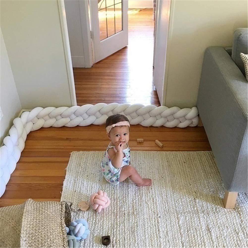 3M, White+Purple+Gray Baby Braided Crib Bumper,Cot Bumper Braid Infant Soft Pad Knot Plush Pillow Bedding Sheets Cushion Bedroom Decor