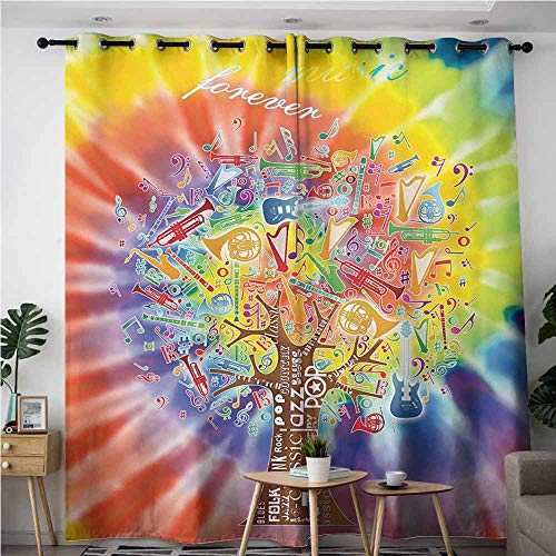 AndyTours Sliding Door Curtains,Tree,Tree with Various Instruments Musical Notes Music Genres Typography Colorful Backdrop,Blackout Window Curtain 2 Panel,W108x72L,Multicolor