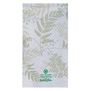 "Hoffmaster 856301 Earth Wise Recycled Paper Guest Towel, Overall Embossed, 2 Ply, 1/6 Fold, 17"" Length x 13"" Width, Nature's Greens (Case of 1000)"