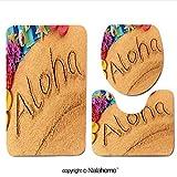 3 Piece Bath Rug Set Nalahome design-255938671 Aloha Hawaii beach Bathroom Rug(15.7''x23.62'')/large Contour Mat(15.7''x15.7'')/Lid Cover(15.7''x16.9'')For Bathroom(pink)