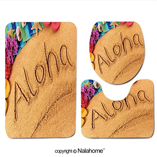 3 Piece Bath Rug Set Nalahome design-255938671 Aloha Hawaii beach Bathroom Rug(15.7''x23.62'')/large Contour Mat(15.7''x15.7'')/Lid Cover(15.7''x16.9'')For Bathroom(pink) by Nalahome
