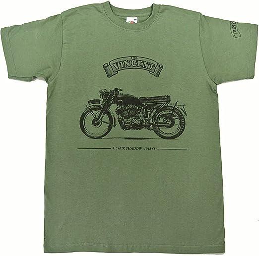 golden era Vincent Negro Sombra Motocicleta Camiseta – Verde Oliva Camisa en tamaño XXL (47 A 49