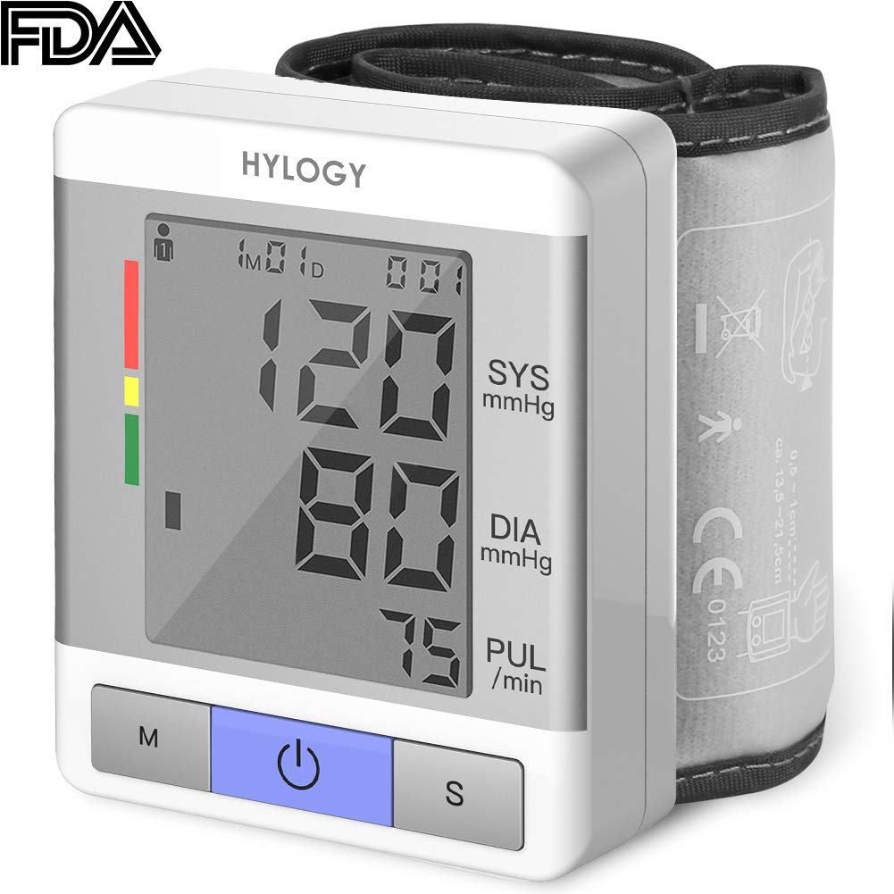 Blood Pressure Monitor HYLOGY Automatic Wrist Cuff Pressure Monitor 2 User Mode 120 Memory Capacity and Portable Case for Home Travel Use FDA CE RoHS Certification