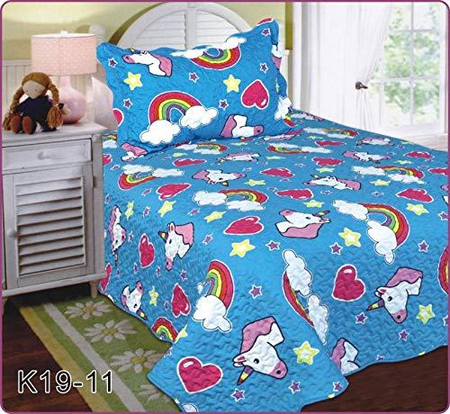 Elegant Home Unicorn Rainbow Hearts Stars Cute Beautiful Girls Mutlicolor Design Twin Size 2 Piece Coverlet Bedspread Quilt for Kids Teens/Girls # Unicorn (Blue/Turquoise) ()