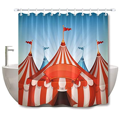 LB Happy Holiday Theme Shower Curtain Circus Tent Stage Performing Theater Red Curtains For
