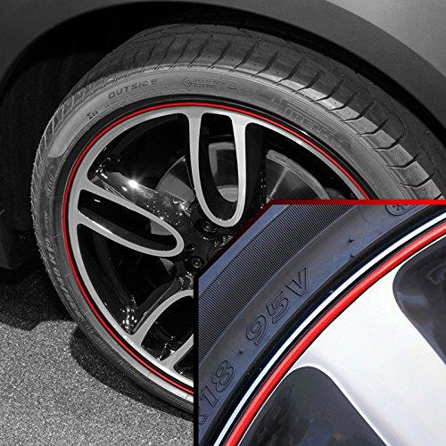 - Upgrade Your Auto Wheel Bands Red in Black Pinstripe Rim Edge Trim for Mini Cooper