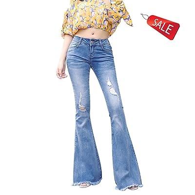 Agrémentée stretch jambes larges pantalons taille haute trou trompette jeans frange conception large jambe pantalons ( Color : Blue , Size : 31 )