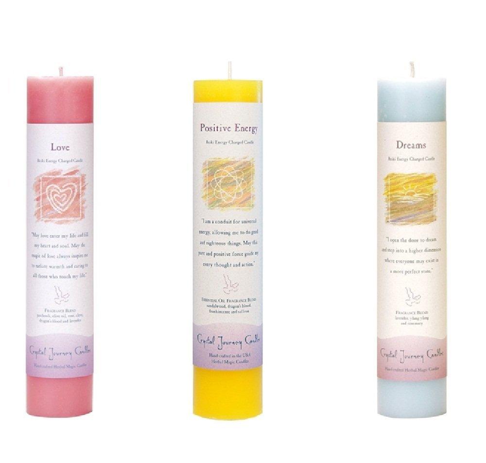 Crystal Journey Reiki Charged Herbal Magic Pillar Candle Bundle (Love, Positive Energy, Dreams)