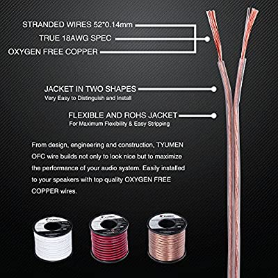 TYUMEN 40 FT Speaker Wire - 2 Conductors 18 Gauge Stranded 99.95% Oxygen Free Copper Wires - for Home Theater Speakers Radio Speakers Car Audio or Any Other Audio Interfaces-Transparent: MP3 Players & Accessories
