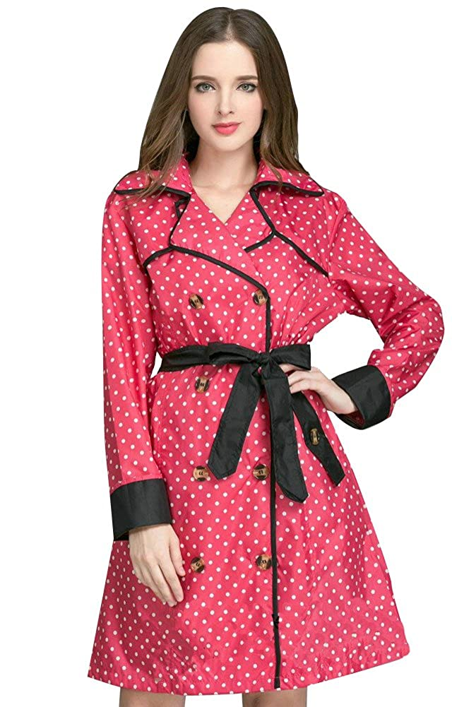 OVOV Women's Stylish Dot Belted Hiking Rain Jacket with Butterfly Bow Hood 1688