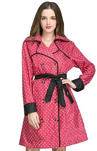 Ouvin - Abrigo impermeable - para mujer rojo rosso Large