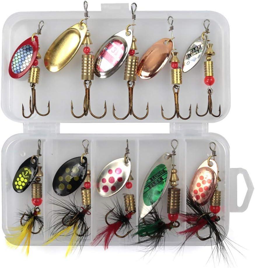 Cicony señuelos de Pesca Spinners Baits Spinnerbait Set con Caja para salmón Trucha, Paquete de 10: Amazon.es: Jardín