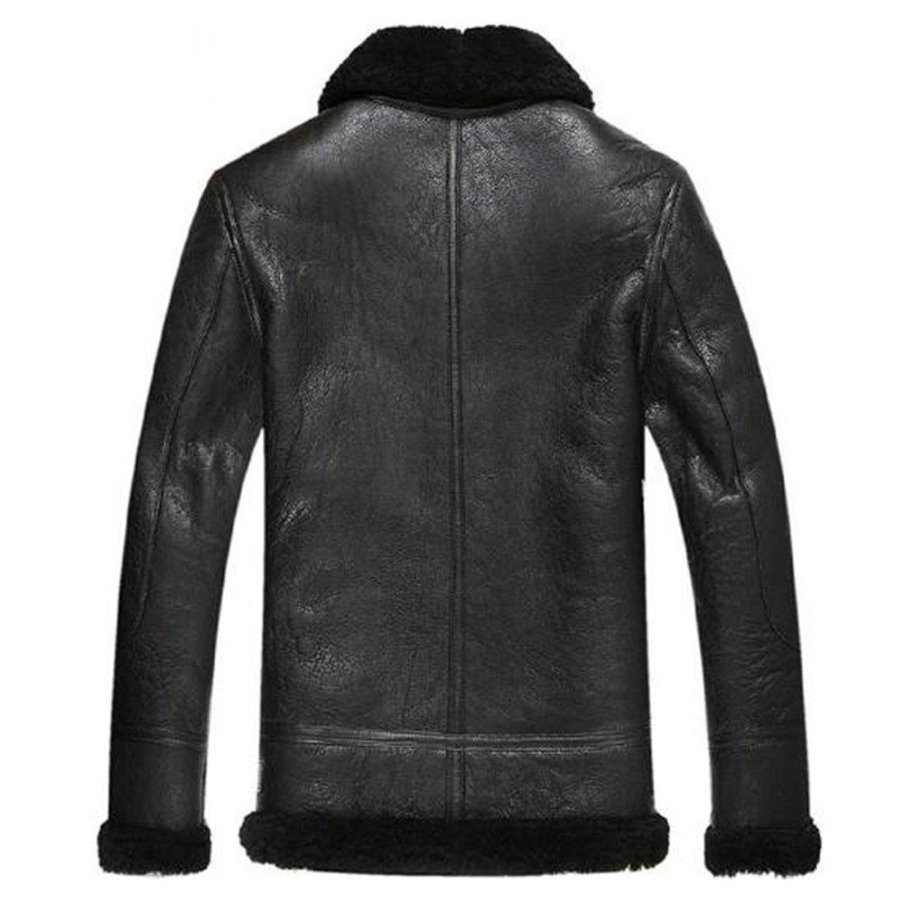 95c0eca1d47a Leather Jacket Men Shearling Coat Pilot Outerwear B3 Men Casual Lapel Parka  at Amazon Men s Clothing store