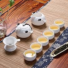 SAIBANG Ceramic Tea Sets, Chinese Quality Half Handmade Porcelain Teapot Teacups with Tea Infuser, 10-Pack (White)