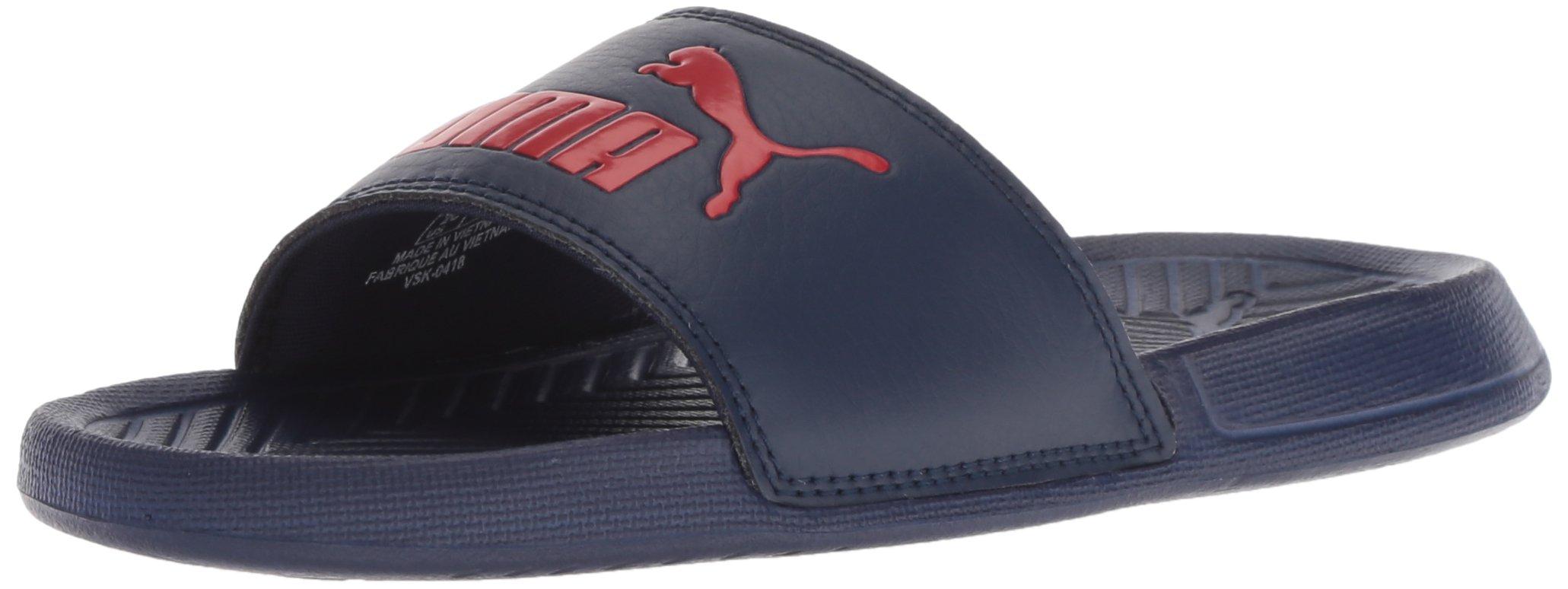 PUMA Unisex Popcat Slide Sandal, Peacoat-Ribbon red, 5 M US Big Kid