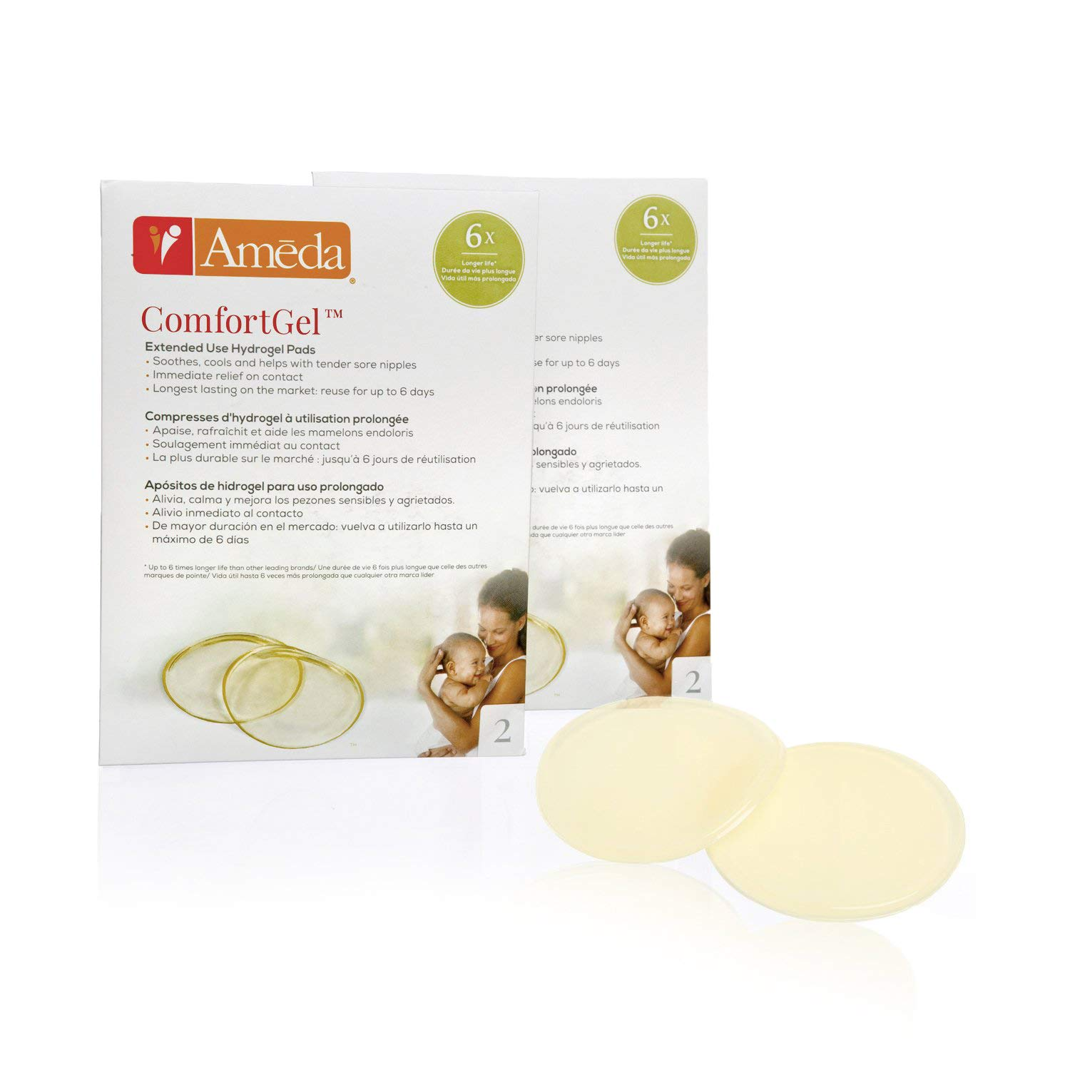 2 Pair Nipple Therapy Reusable Cooling Relief Ameda Comfortgel Soothing Breastfeeding Pads 4 Count Helps Provide