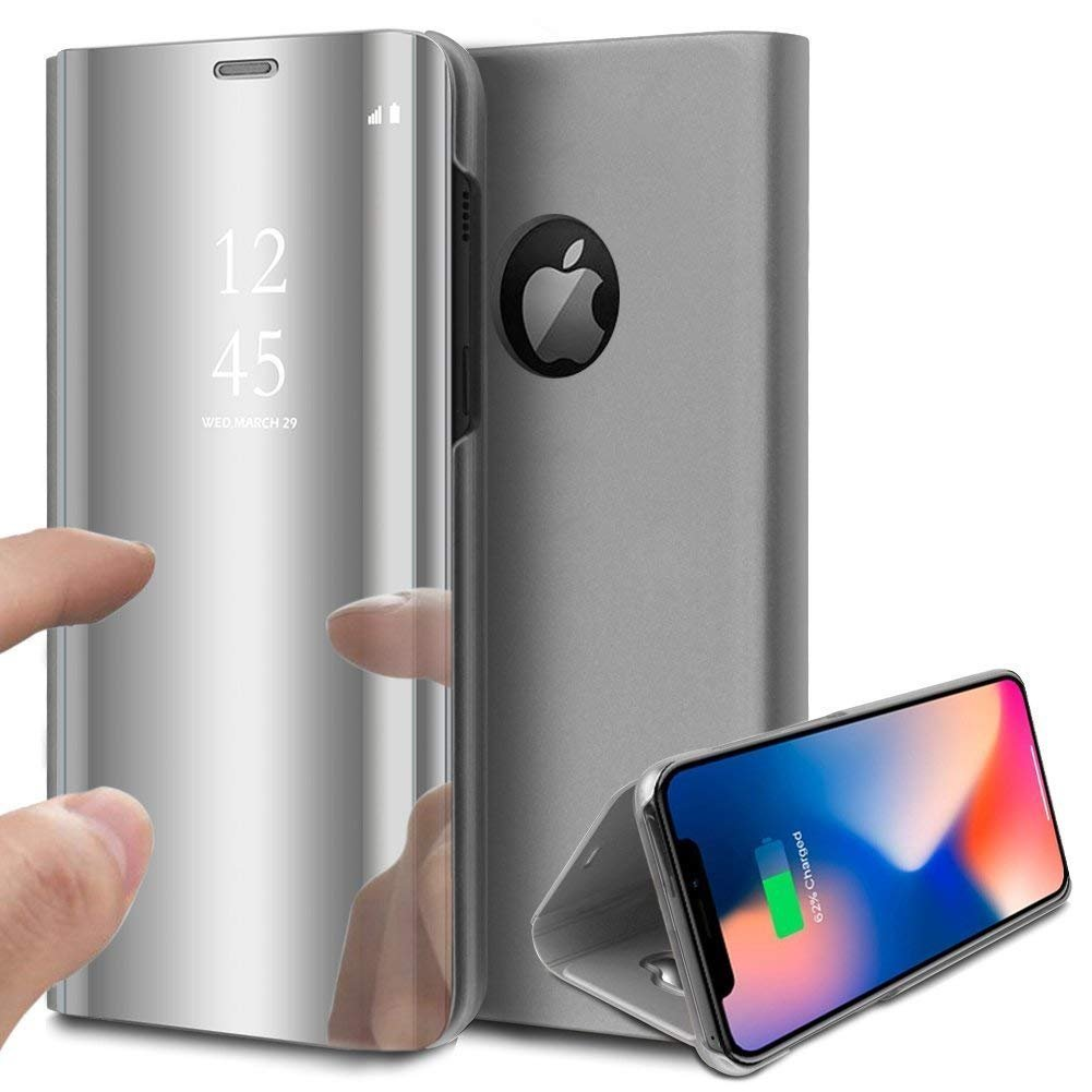 Herbests Compatible with iPhone XR Case Luxury Clear View Standing Mirror Flip PC Cover Folio Protective Makeup Cover Electroplate Plating Stand Full Body Case,Silver by Herbests