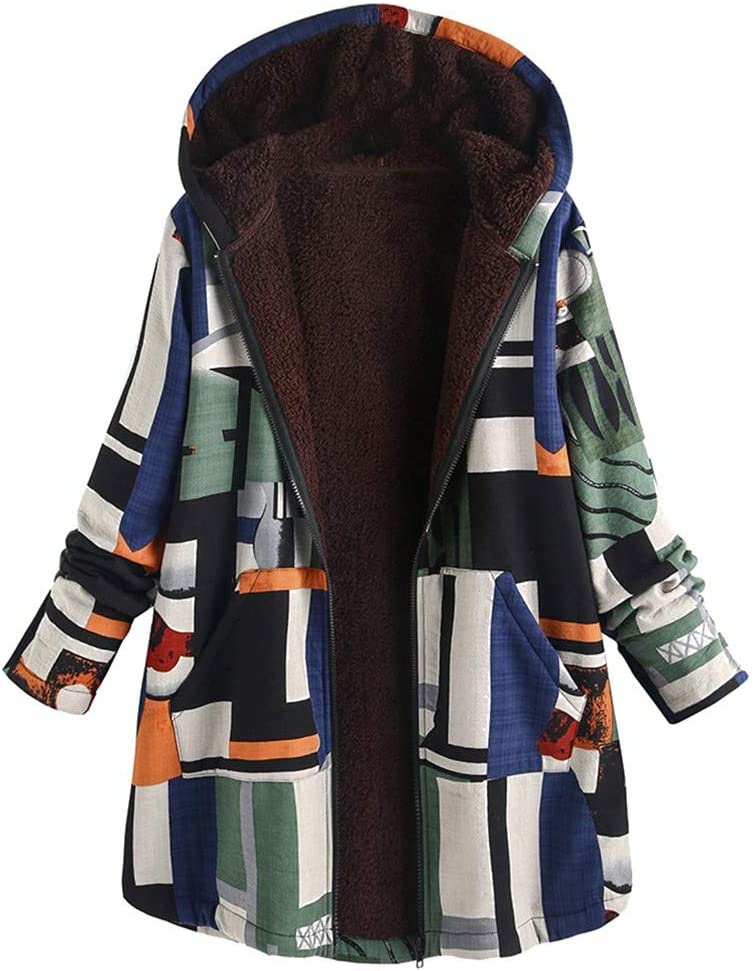 Women Plus Size Outerwear Winter Warm Thick Long Sleeve Casual Loose Fit Vintage Splice Print Asymmetrical Hooded Zipper Pockets Coat Jacket
