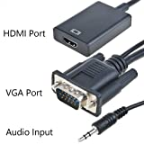 JerGO VGA Male to HDMI Output, HD 1080p TV AV HDTV Video Cable Converter Adapter Plug and Play with Audio for HDTVs, monitors, displayers,Laptop Desktop Computer