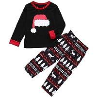 Clearance! Xmas Pjs Family,Sunfei Mom/Dad/Kids 2PCS Christmas Cartoon Hat Print Top+Pants Family Clothes Pajamas