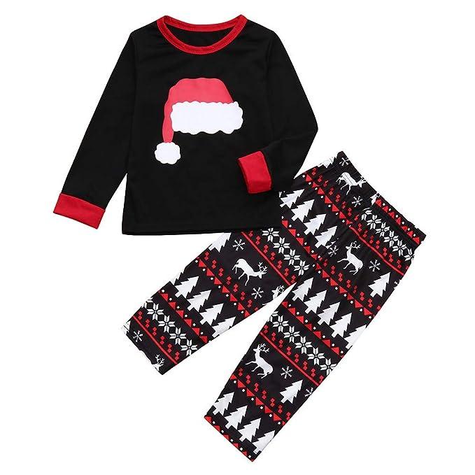 K-youth Conjunto de Pijamas Familiares Ropa de Casa Unisexo Sombrero de Navidad Impresión Pijamas