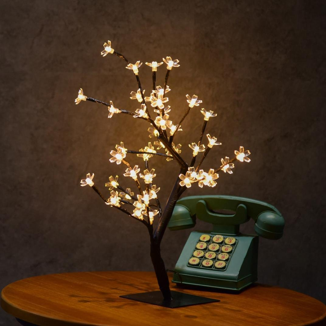 Vovomay 0.45M 48LED Cherry Blossom Desk Top Bonsai Tree Light, Christmas Trees Spring Home Decor Artificial Plants (b)