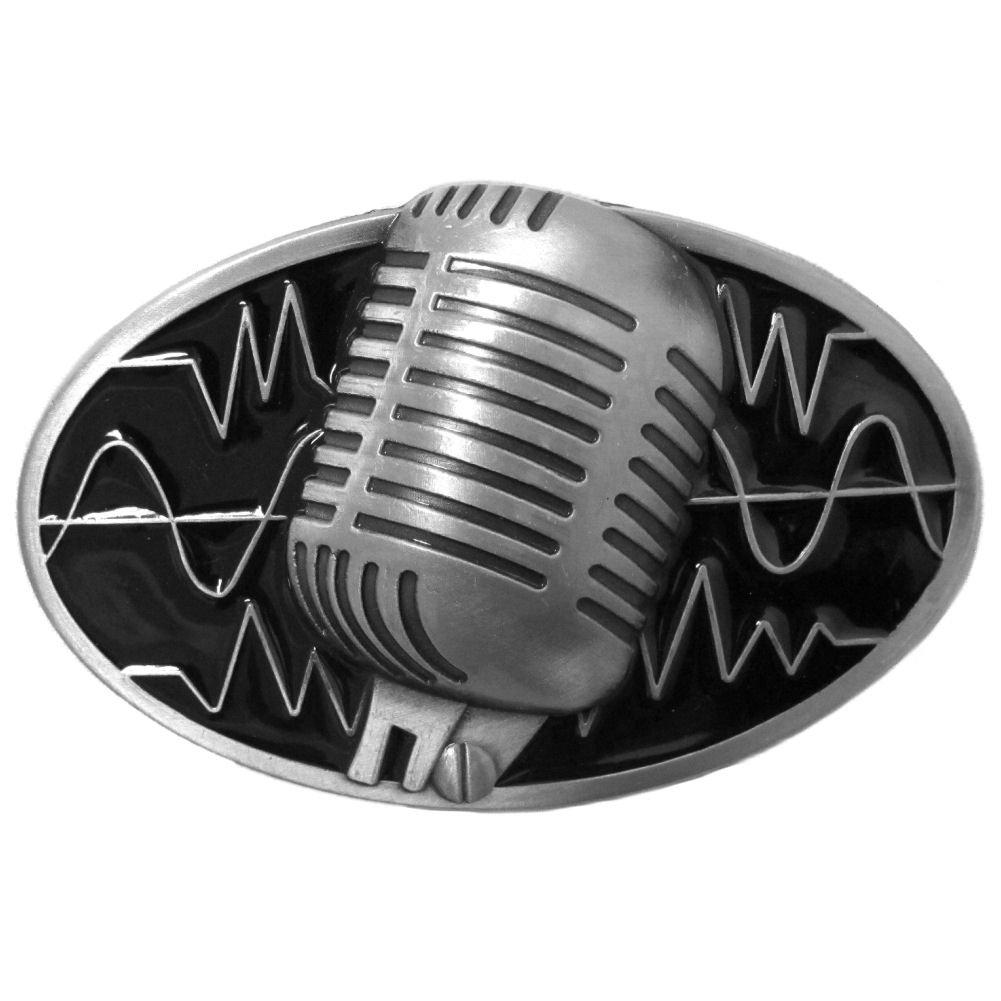 Antiqued Black Metal Vintage Microphone Belt Buckle