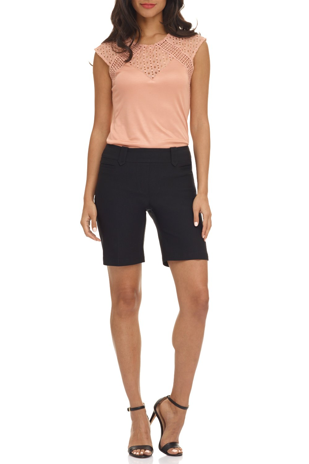 Rekucci Women's Ease in to Comfort Fit Perfection Modern Office Short (6,Black)