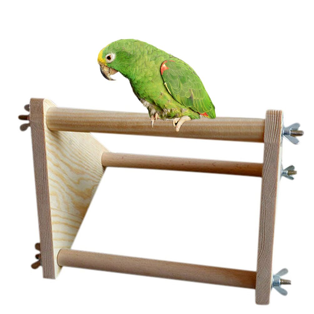 Wood Perch for Bird Parrot Macaw African Greys Budgies Parakeet Cockatiel Cockatoo Conure Lovebird Table Training Perch Stand Toy Keersi
