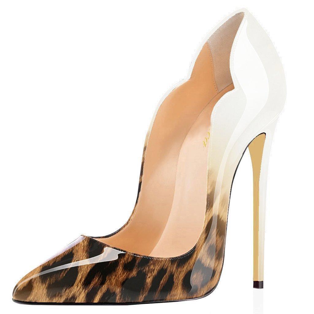 Lutalica - Zapatos de Vestir de Charol para Mujer 12 B(M) US|Blanco (White-leopard)