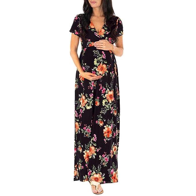 1687c9303a951 Women's Pregnant Dress,Long Nursing Dress Maternity Floral Printing Maxi  Dress (
