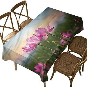 Rectangular Polyester Tablecloth,Lotus, Blooms Zen Garden,Indoor Outdoor Spillproof Tablecloth Table Cover,for Spring Summer Patio Garden Tabletop Decor Oblong 52 x 70 Inch