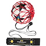 PodiuMax Hands-Free Soccer Kick/Throw Trainer, New Ball Locked Net Design, Adjustable Waist Belt & Cord Suit for All…