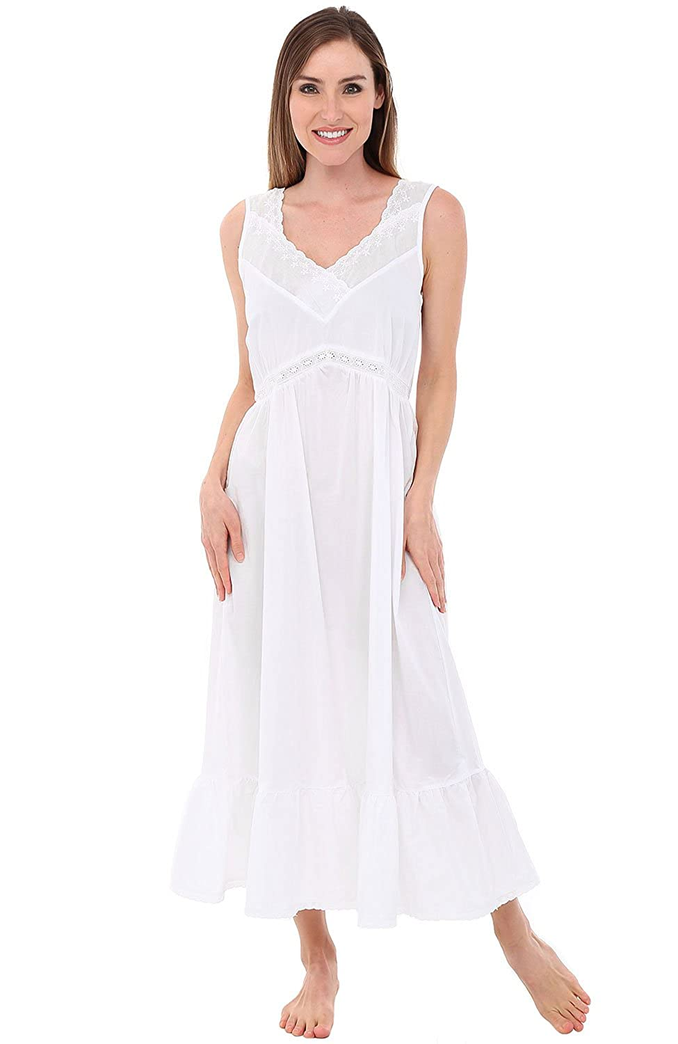 Alexander Del Rossa Womens Mary Cotton Nightgown 40beabd3e