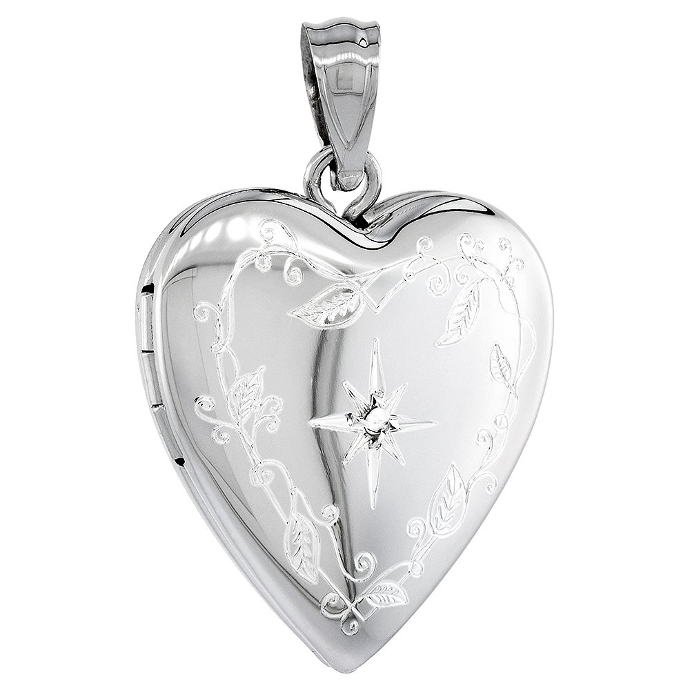 fb0451e2878ce 3/4 inch Sterling Silver Diamond Heart Locket Necklace for Women Engraved  Star, 16-20 inch