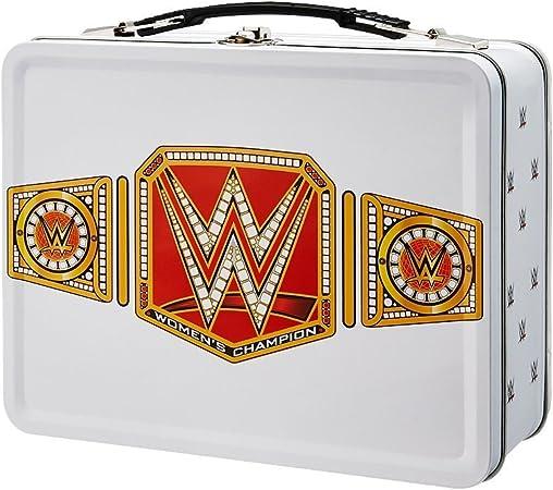 WWE - Caja de almuerzo metálica con diseño de cinturón de título del Campeonato Mundial WWE femenino, color blanco: Amazon.es: Hogar