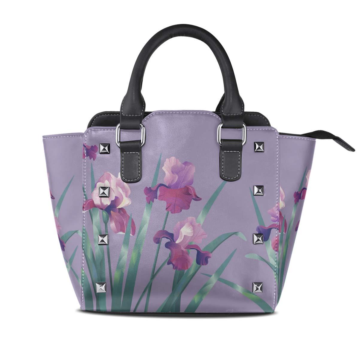 Design1 Handbag FleurDeLis Genuine Leather Tote Rivet Bag Shoulder Strap Top Handle Women