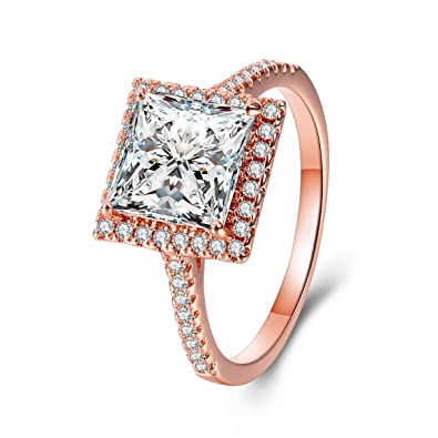 c6827549301b2 Rose Gold Plated 2.4ct Princess Cut CZ Simulated Diamond Halo Promise  Engagement Wedding Rings Jewelry for Women Teen Gilrs Size 5-10