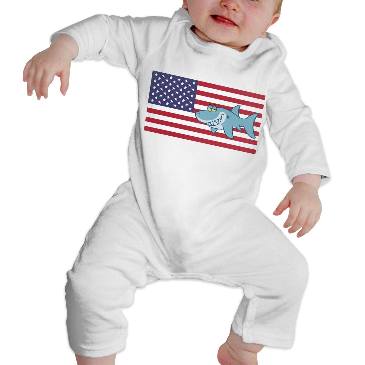 Infant Baby Girls Cotton Long Sleeve American Shark Cartoon Romper Bodysuit Funny Printed Romper Clothes