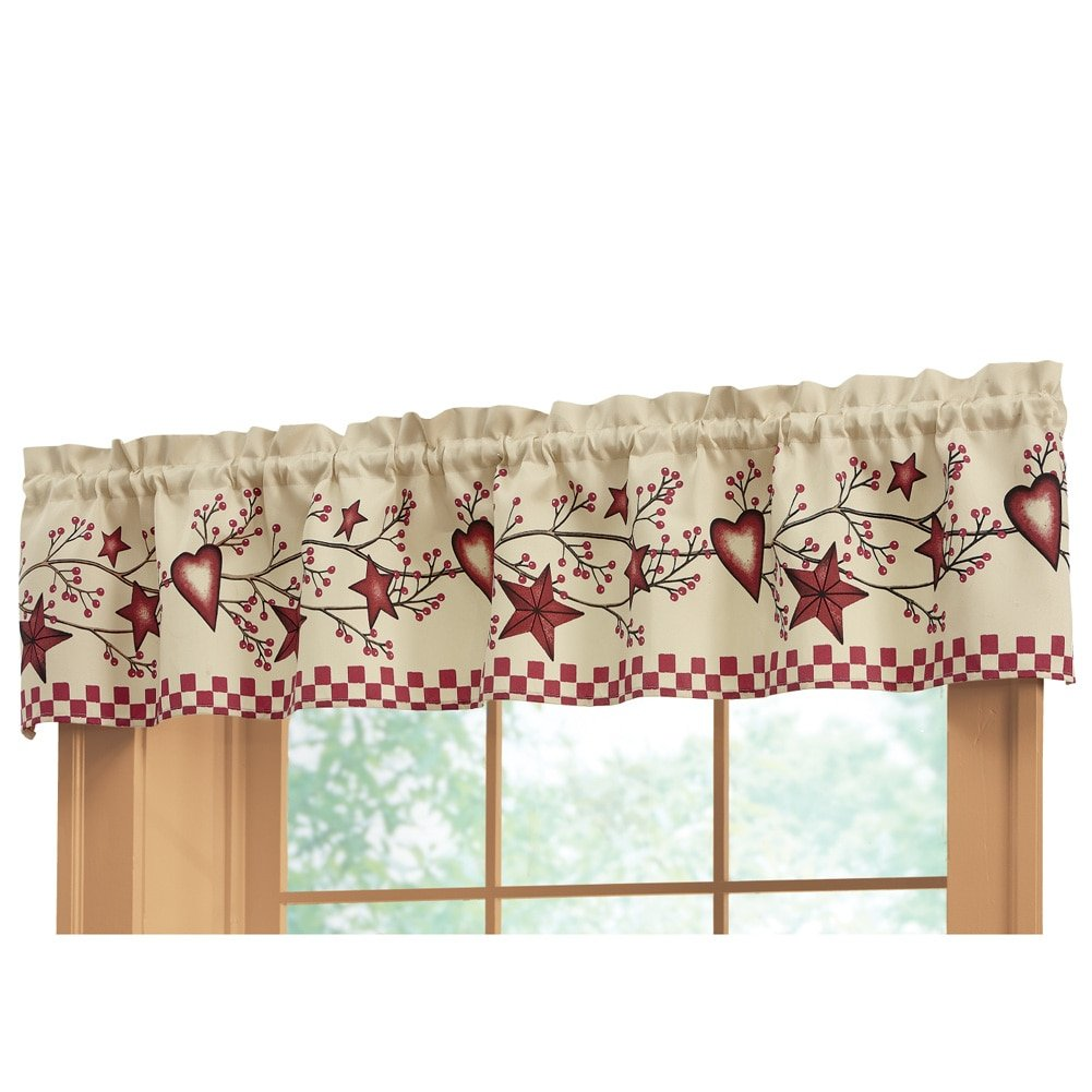 """Collections Etc Country Heart Checkered Rod Pocket Window Valance, 71"""" W x 14"""" L, Red"""